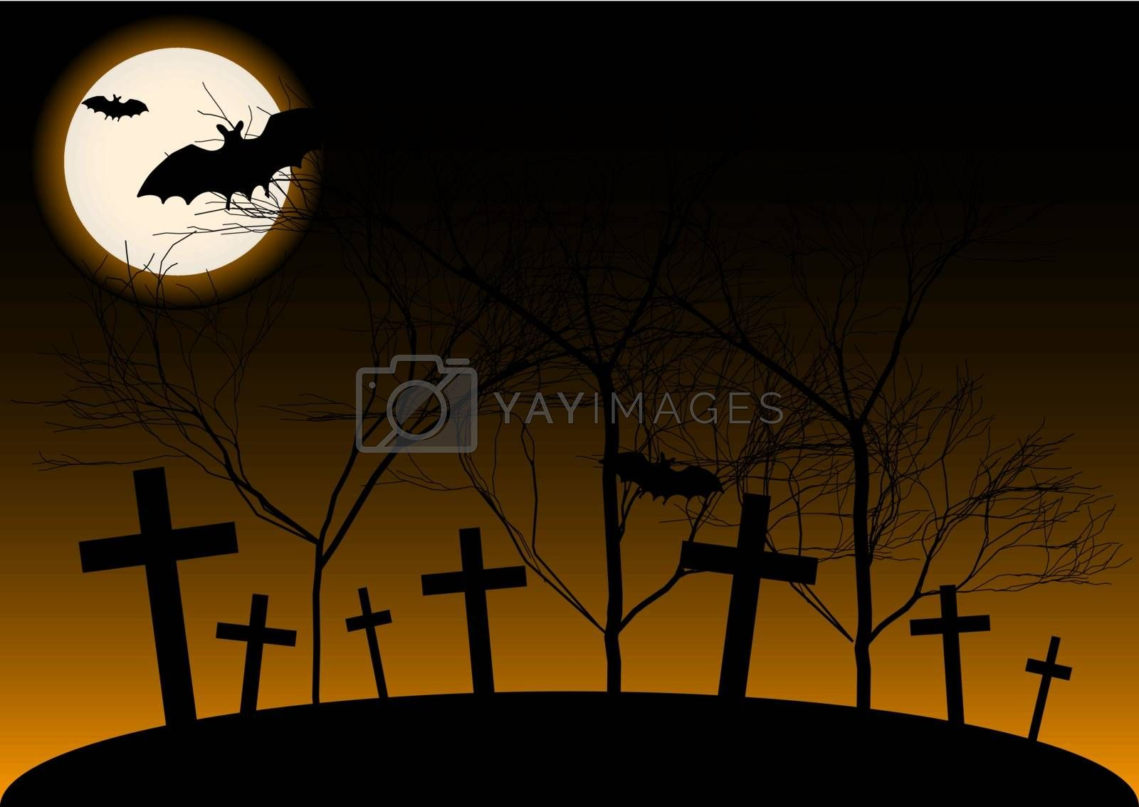 Halloween Background - Cemetery, Trees, Full Moon and Bat