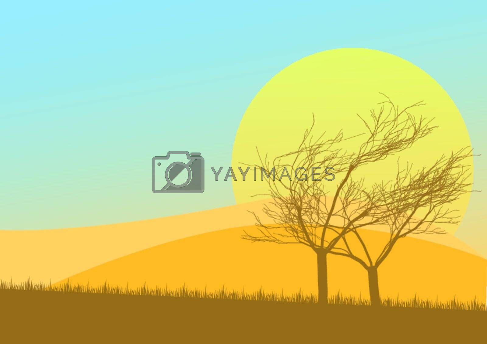 Autumn Background - Sunset over Countryside with Grass and Trees