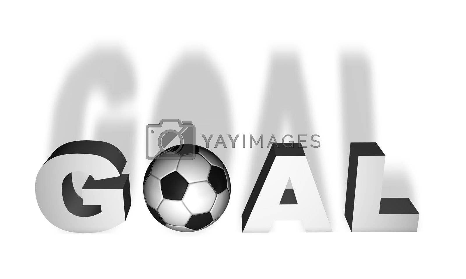 Goal word render in 3D with a soccer ball