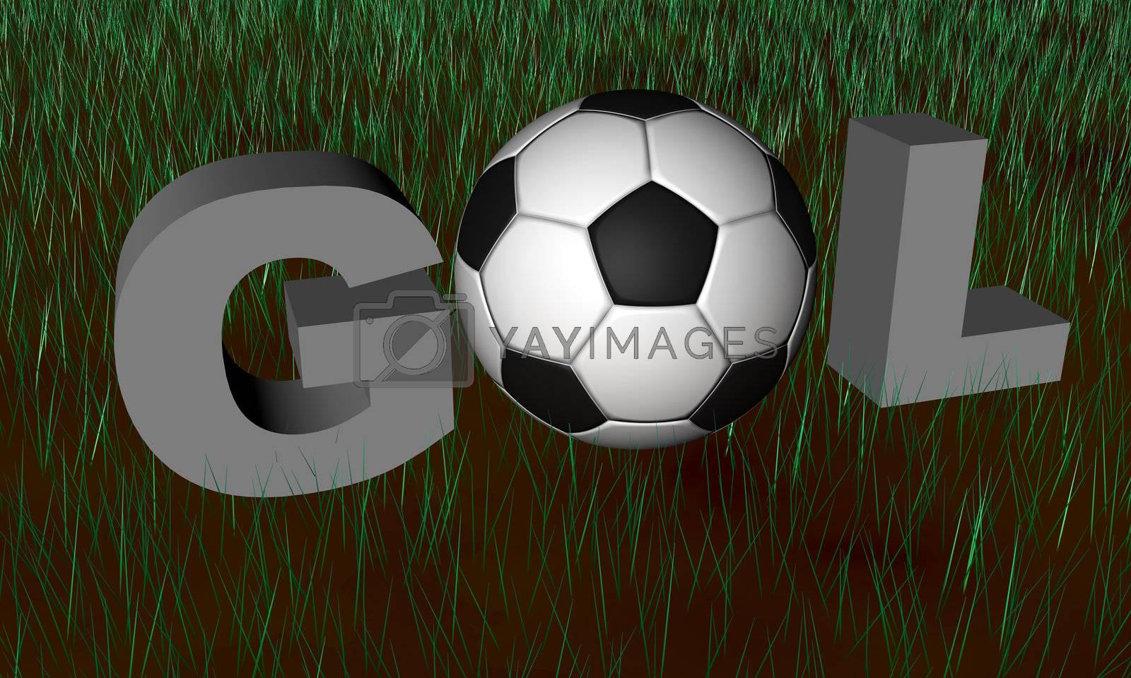 Brazilian word Gol used for Goal in soccer games in render 3D