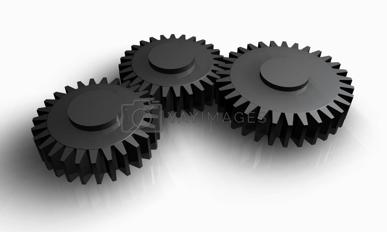 Concept of teamwork, with grey gears working together.