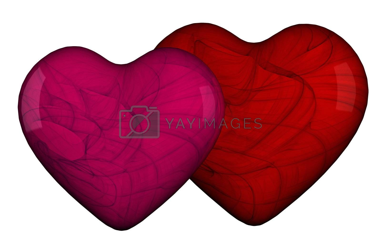 Two hearts shape in red and pink with textures