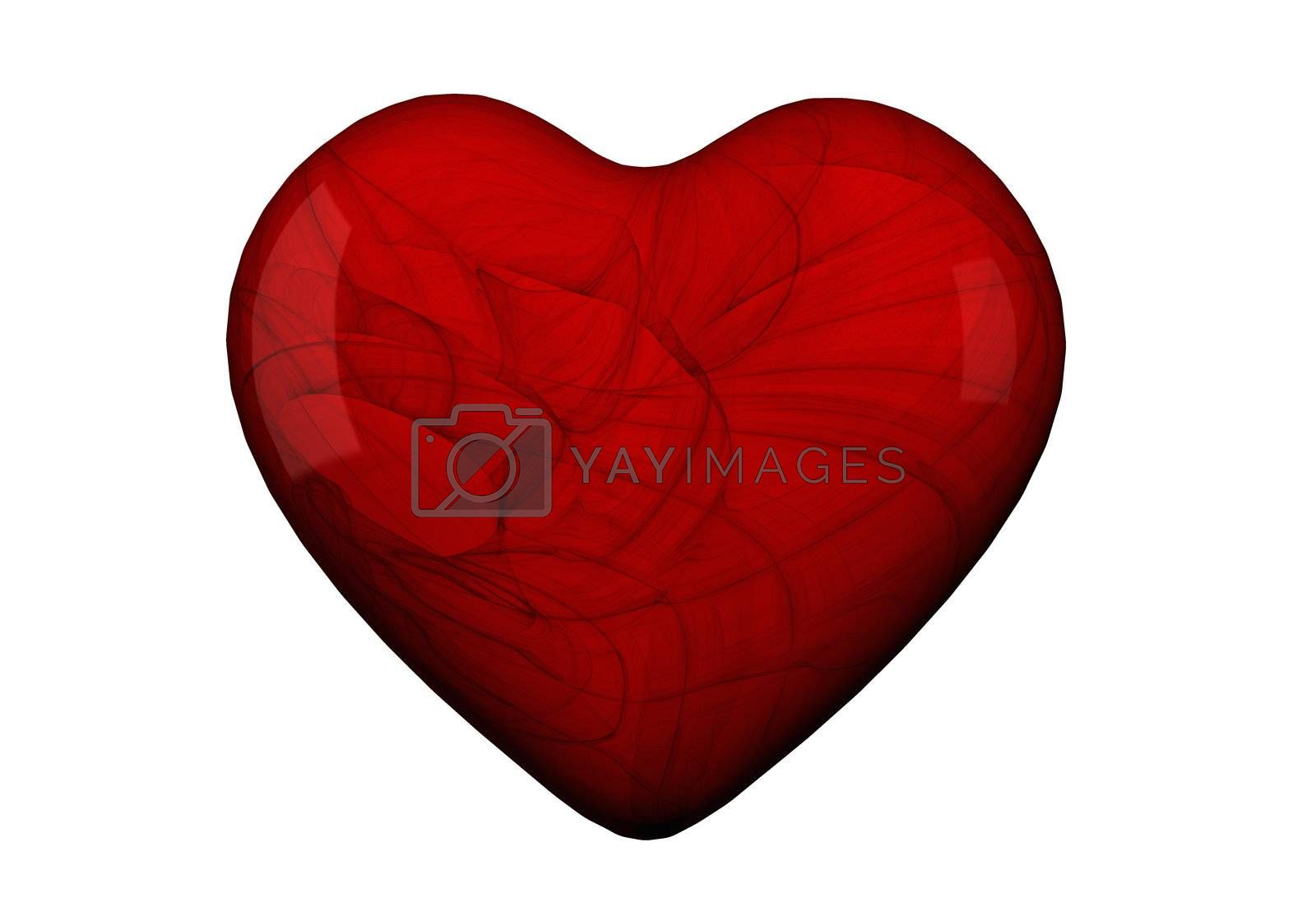 Heart shape in red with textures