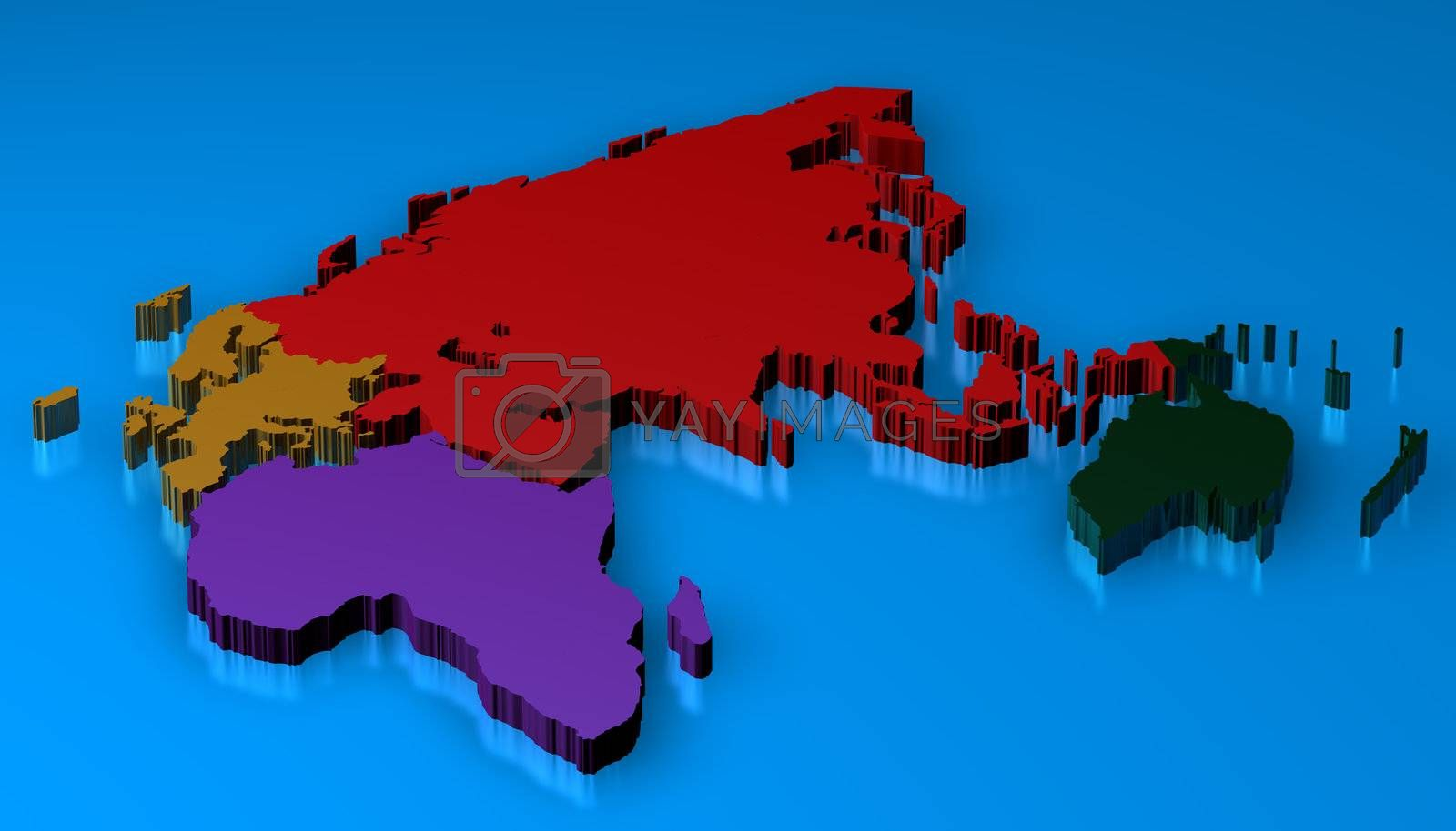 3D Map rendered of europa, africa, asia, oceania and russia over a blue floor with reflection