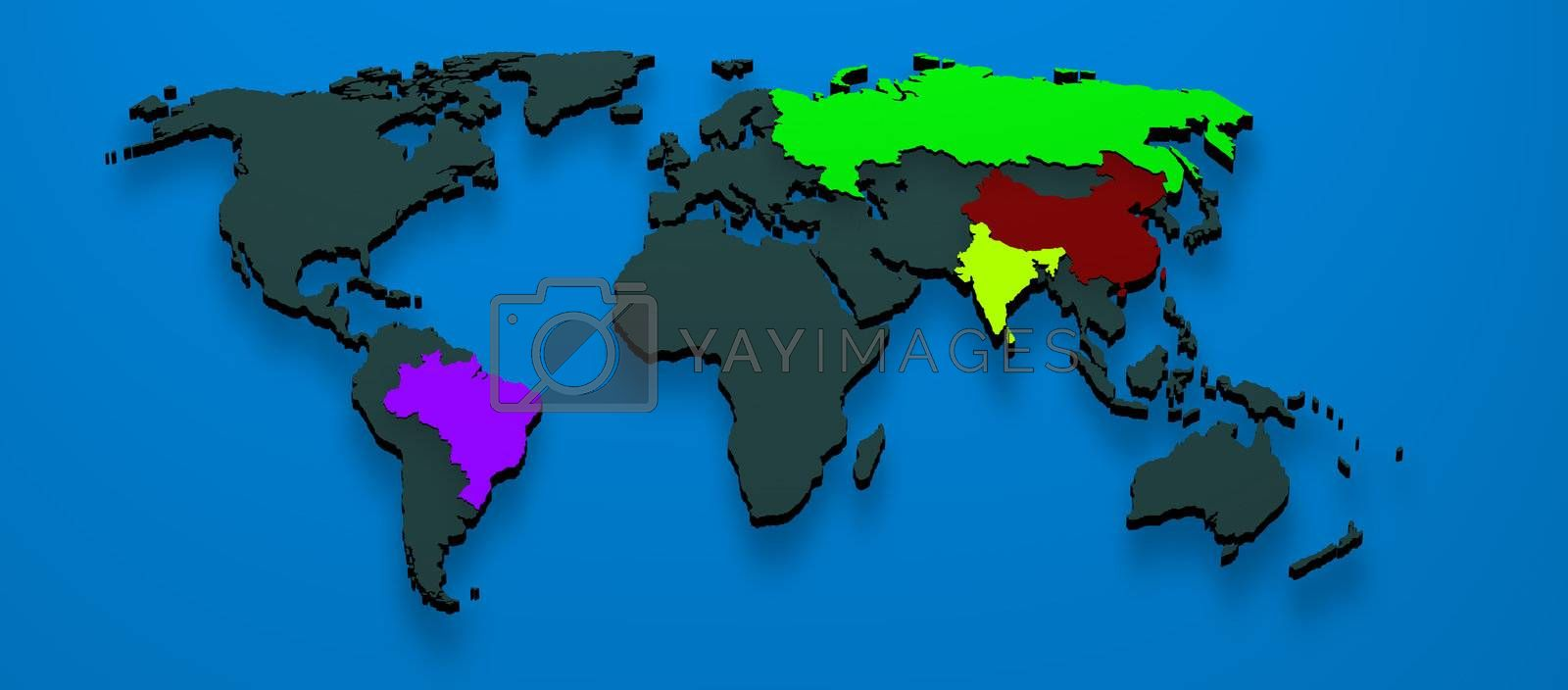 3d map rendered formed by the BRIC countries Brazil, Russia, India and China