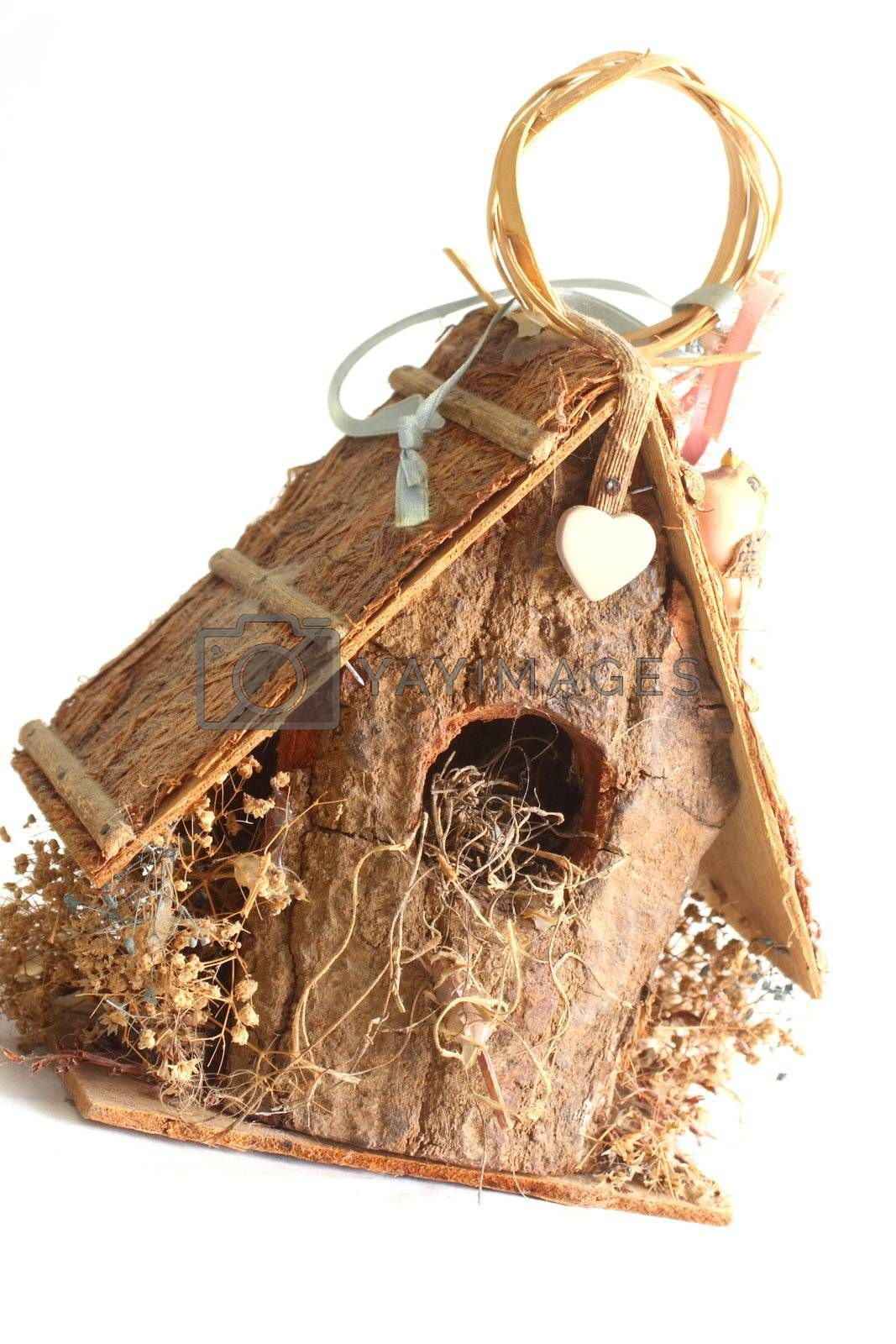 Wooden Birdhouse house decor on white