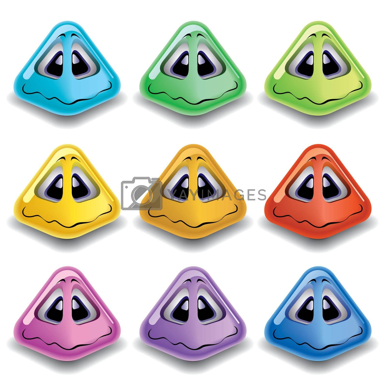 Pyramid shaped smiling balls in different colors