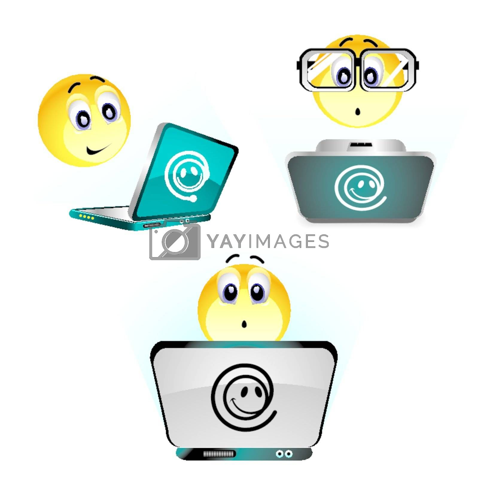Smiley balls working on their computer