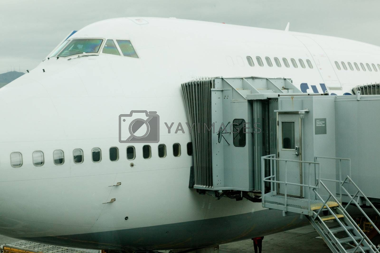 Large airplane waiting for boarding at the gate