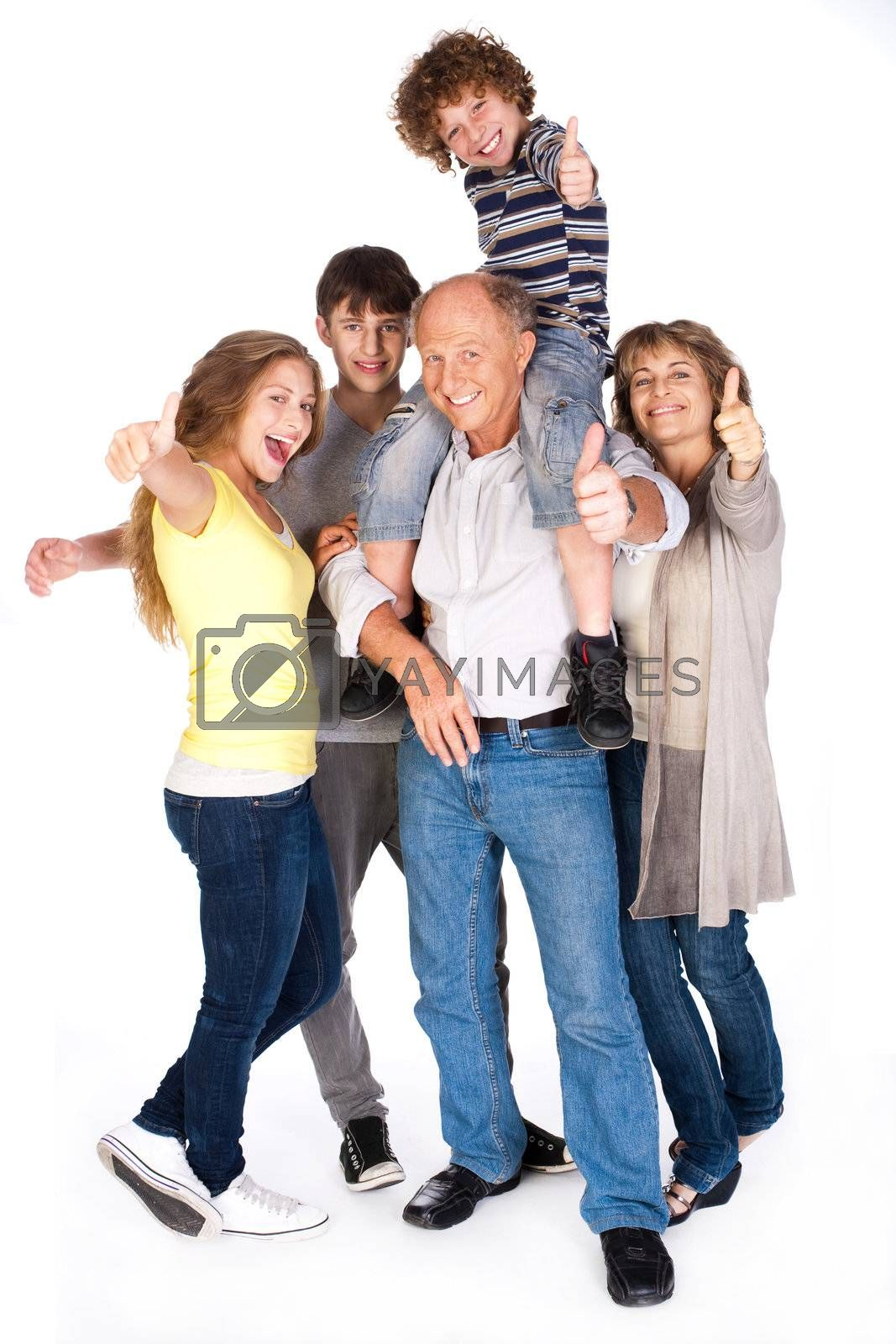 Thumbs-up family, kid resting on his father's shoulders...