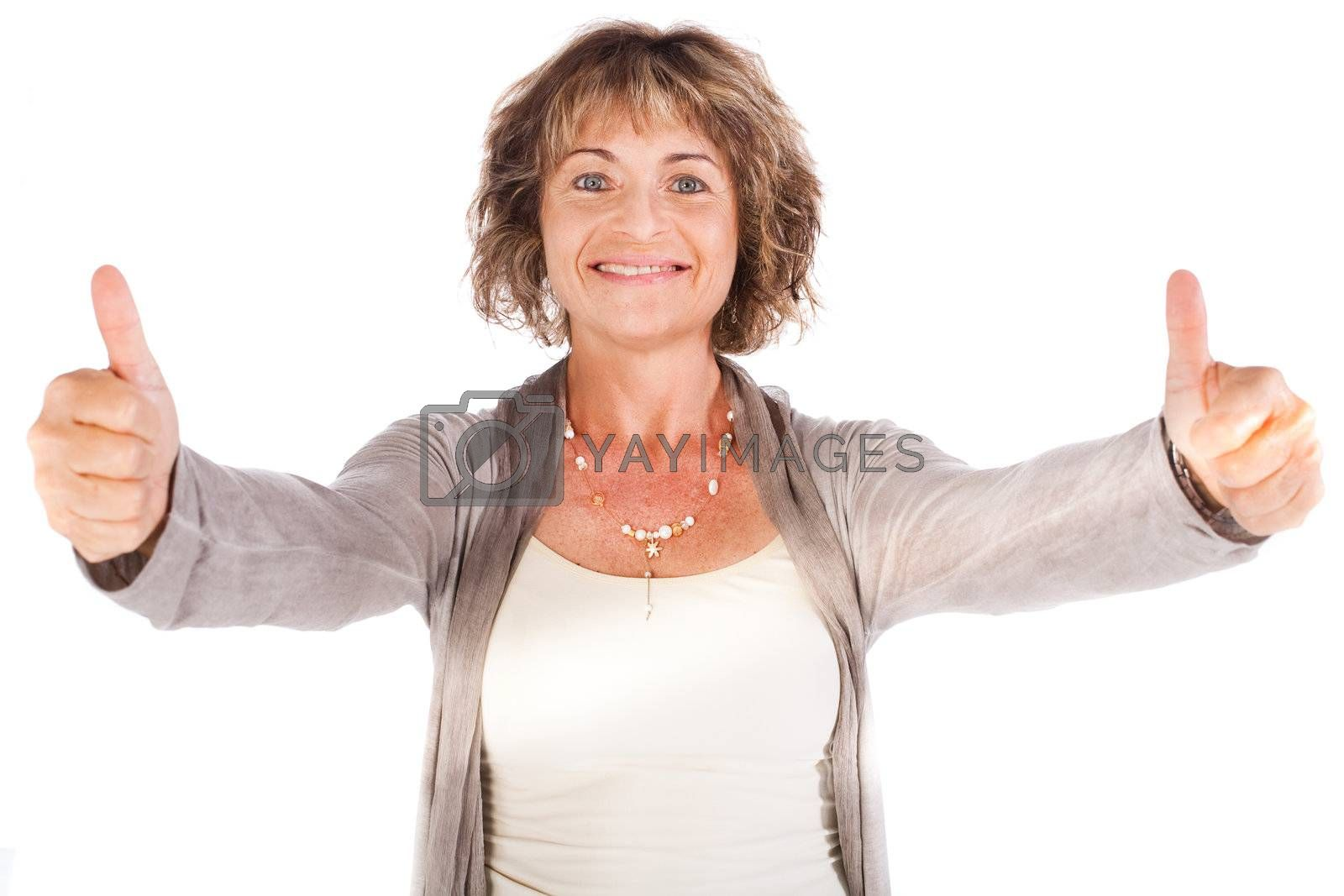 Happy senior lady gesturing thumbs-up isolated on white background.