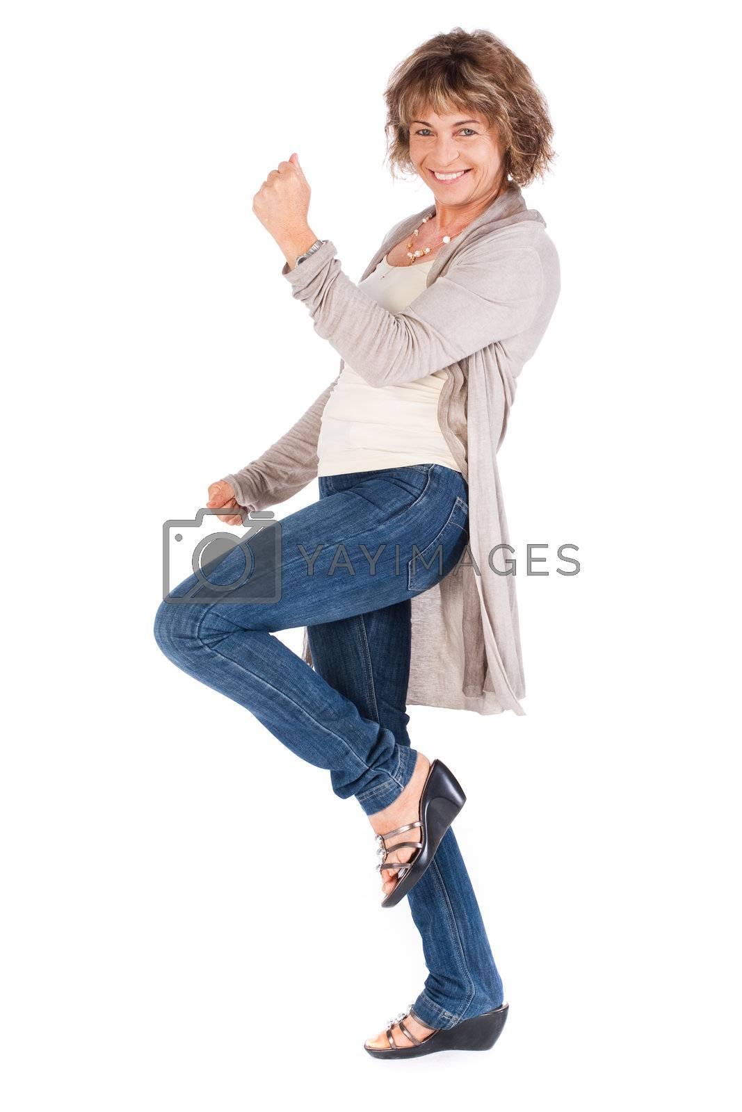 Full length portrait of senior woman isolated over white background. .