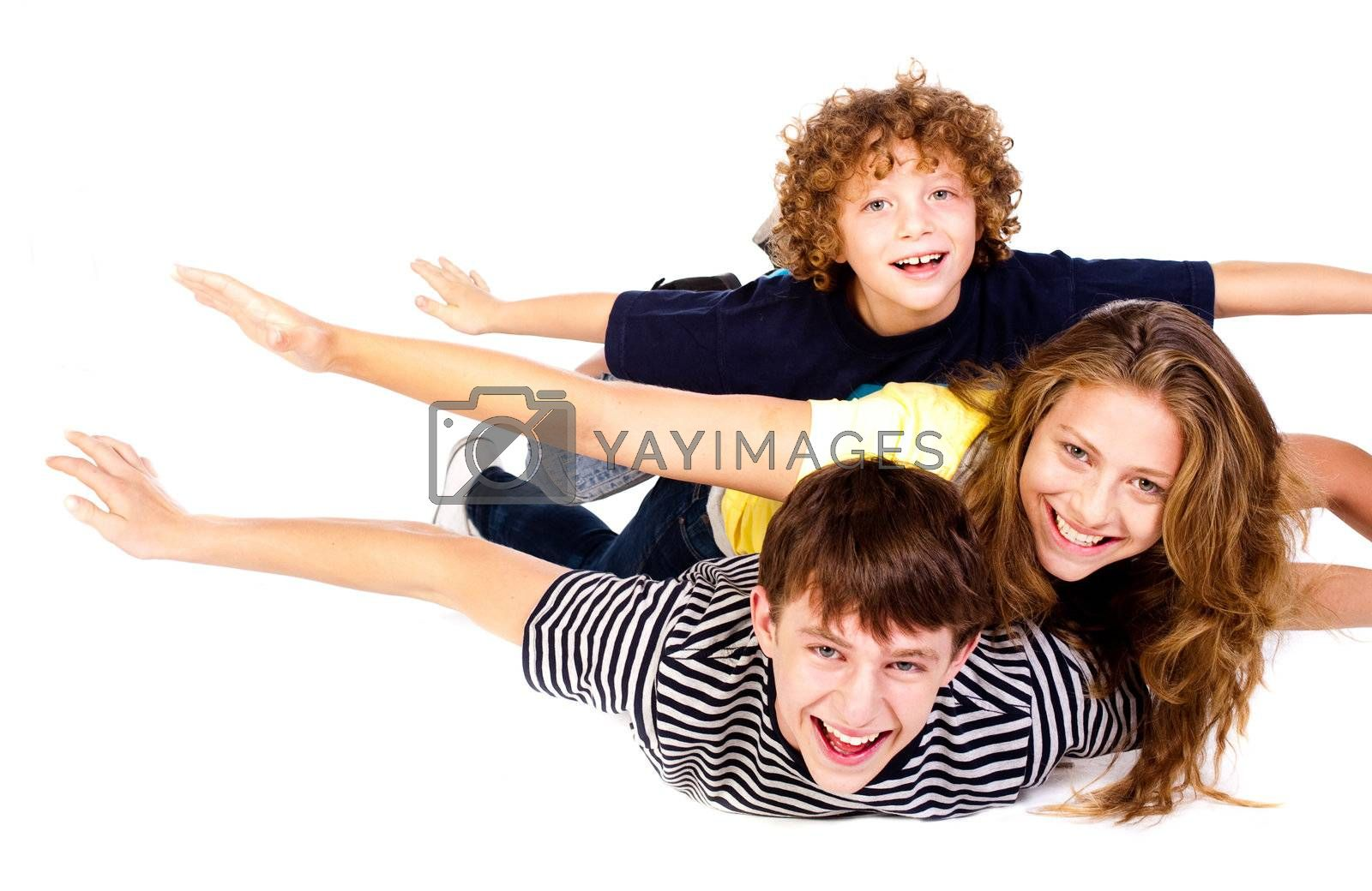 Happy family isolated on white background - A series of happy fmaily images.