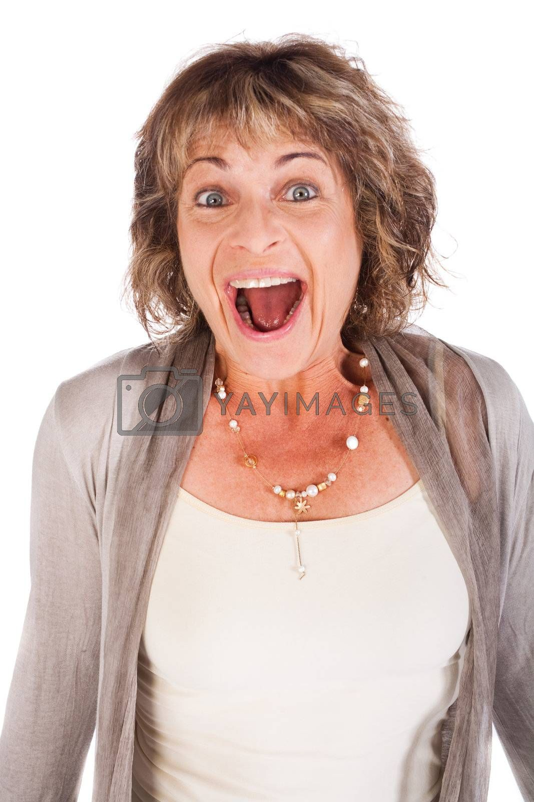 Portrait of amazed attractive senior woman over white background