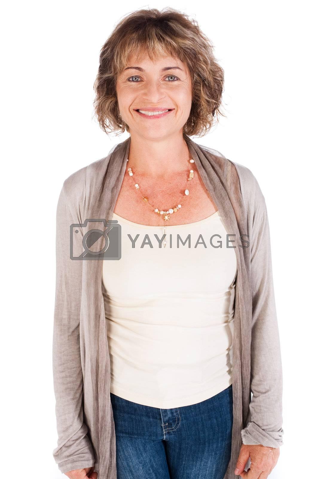 Smiling senior woman isolated on white background.
