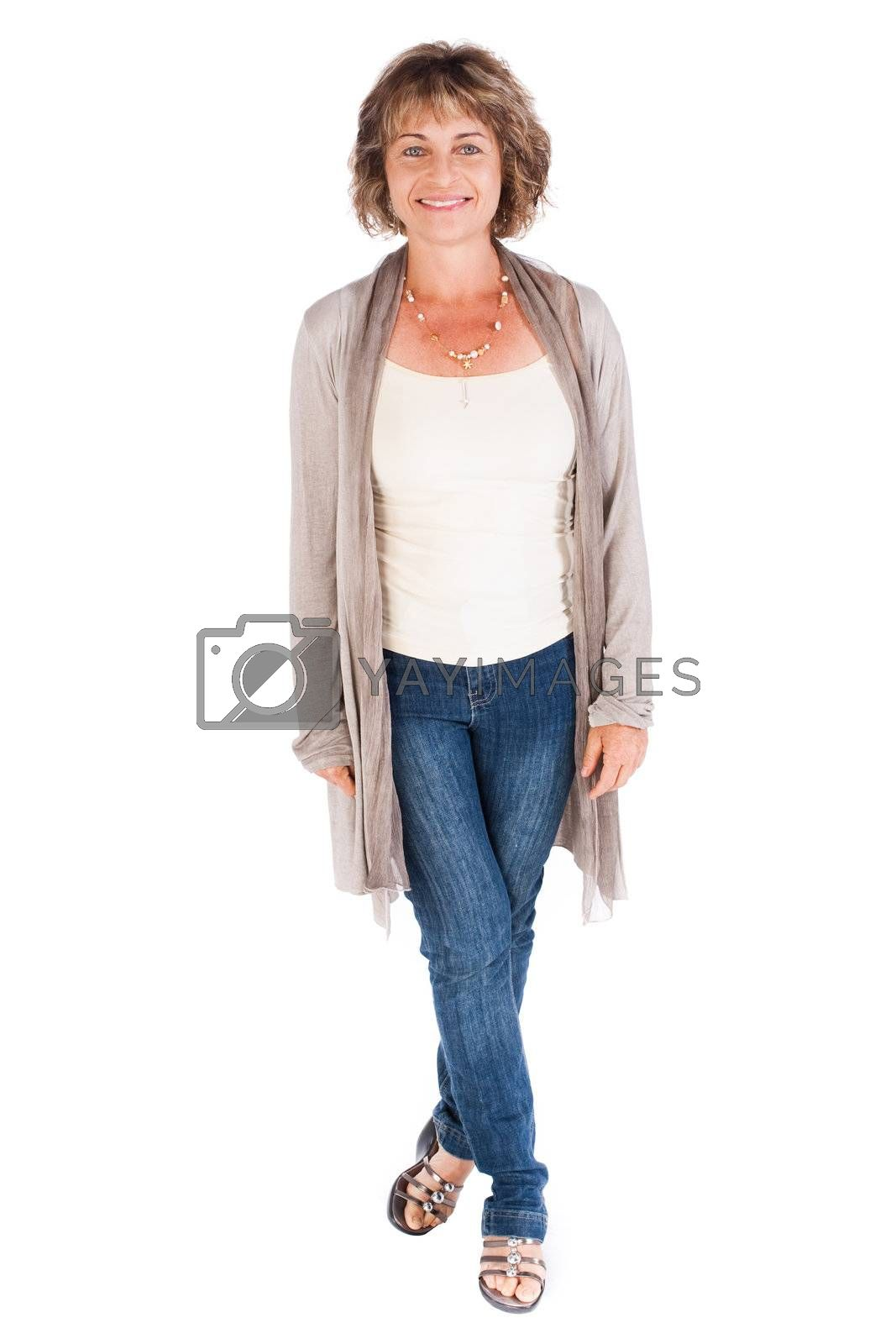 Portrait of a smiling senior woman isolated over white background..