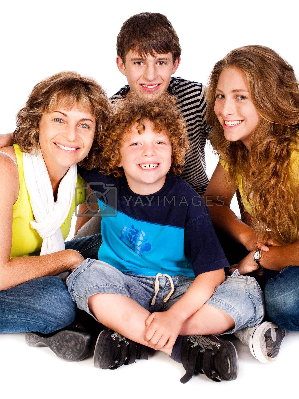 Happy family isolated on white, indoors..