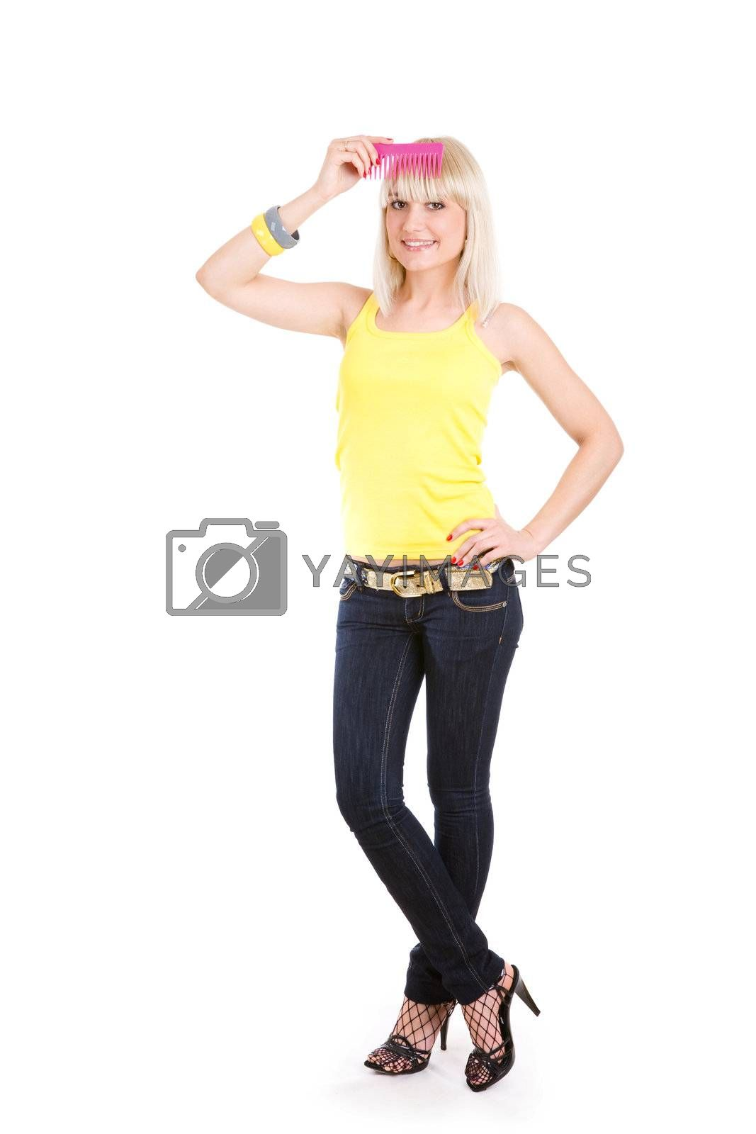 pretty blonde girl with comb