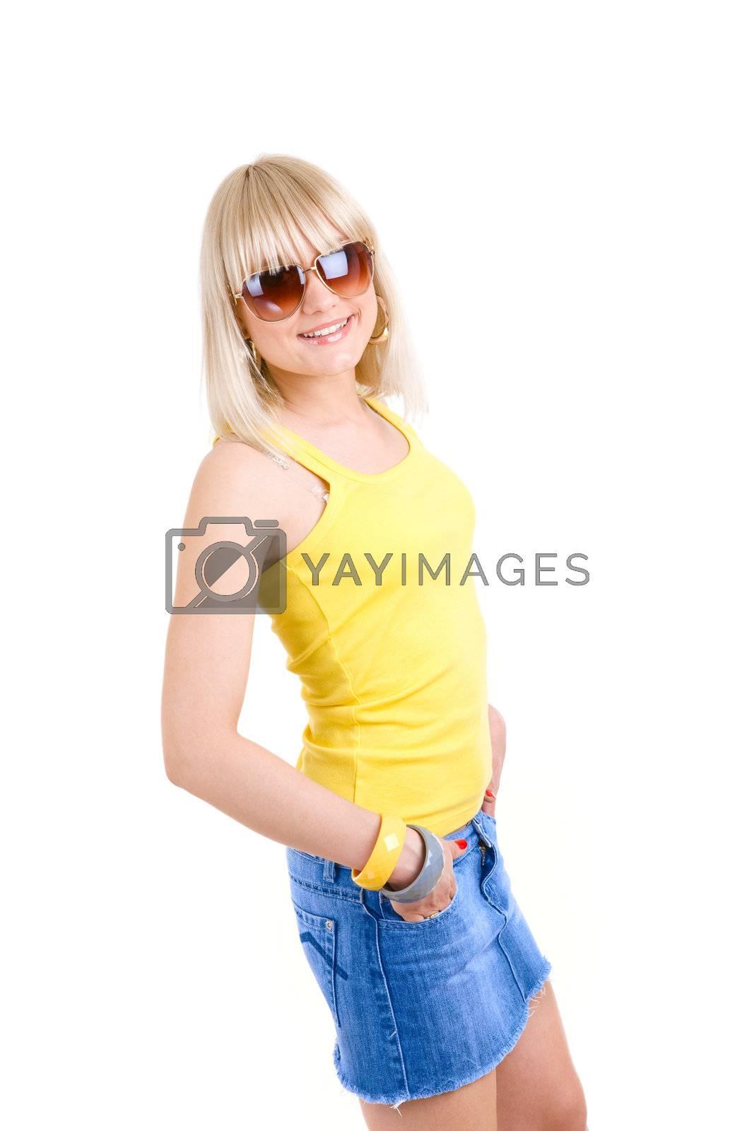 careless girl in sunglasses