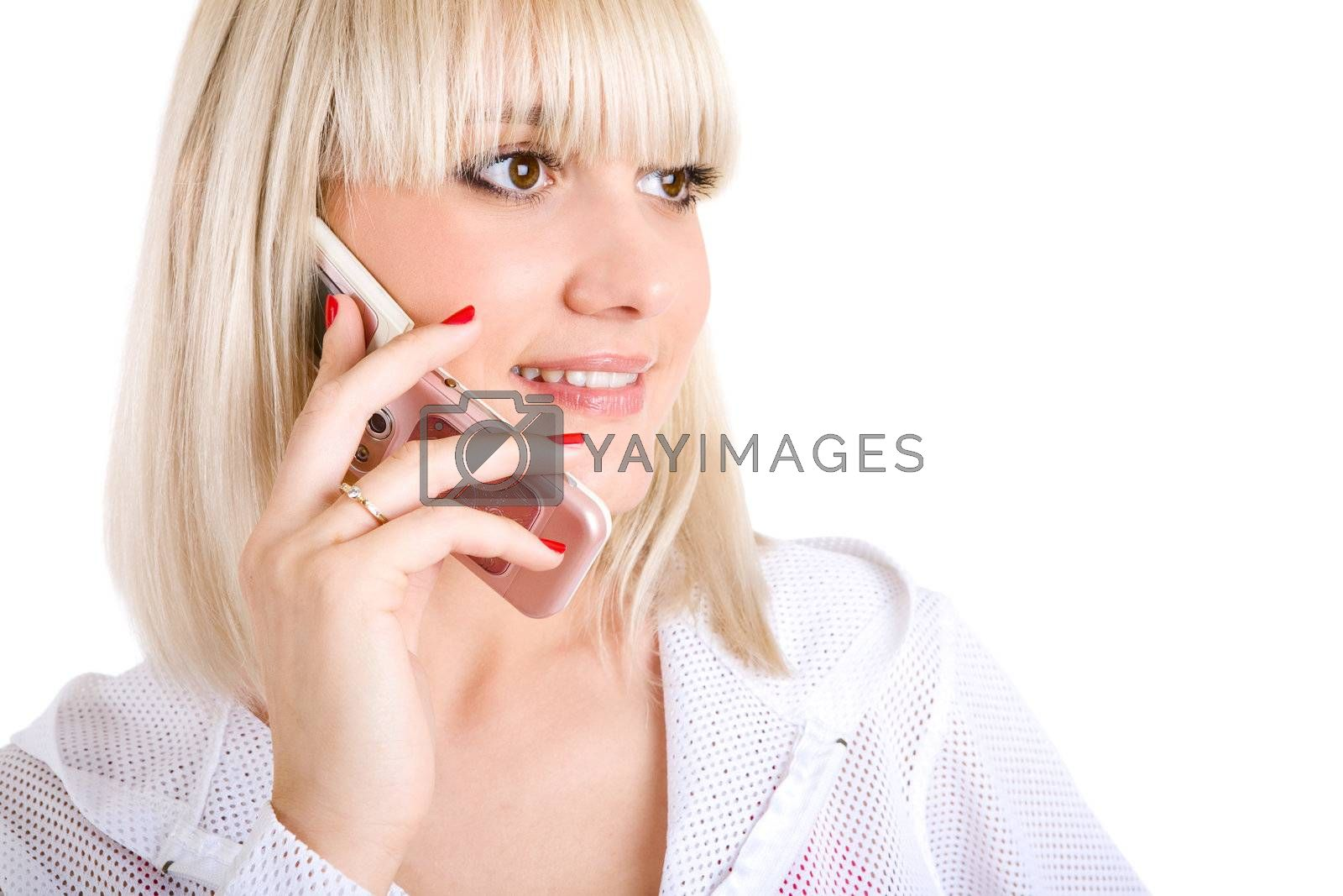 happy girl talking by phone