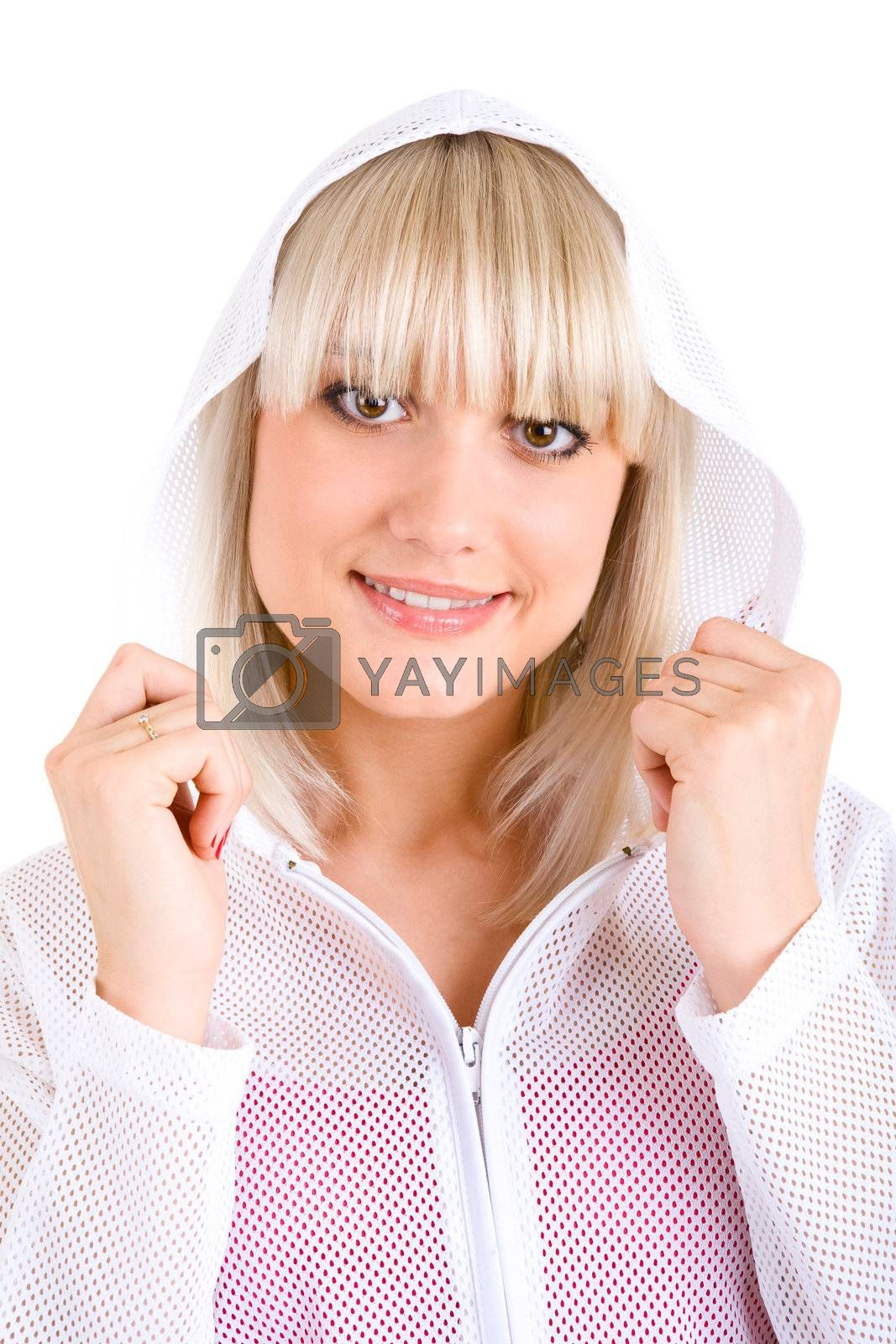 smiling blond girl in jacket with hood
