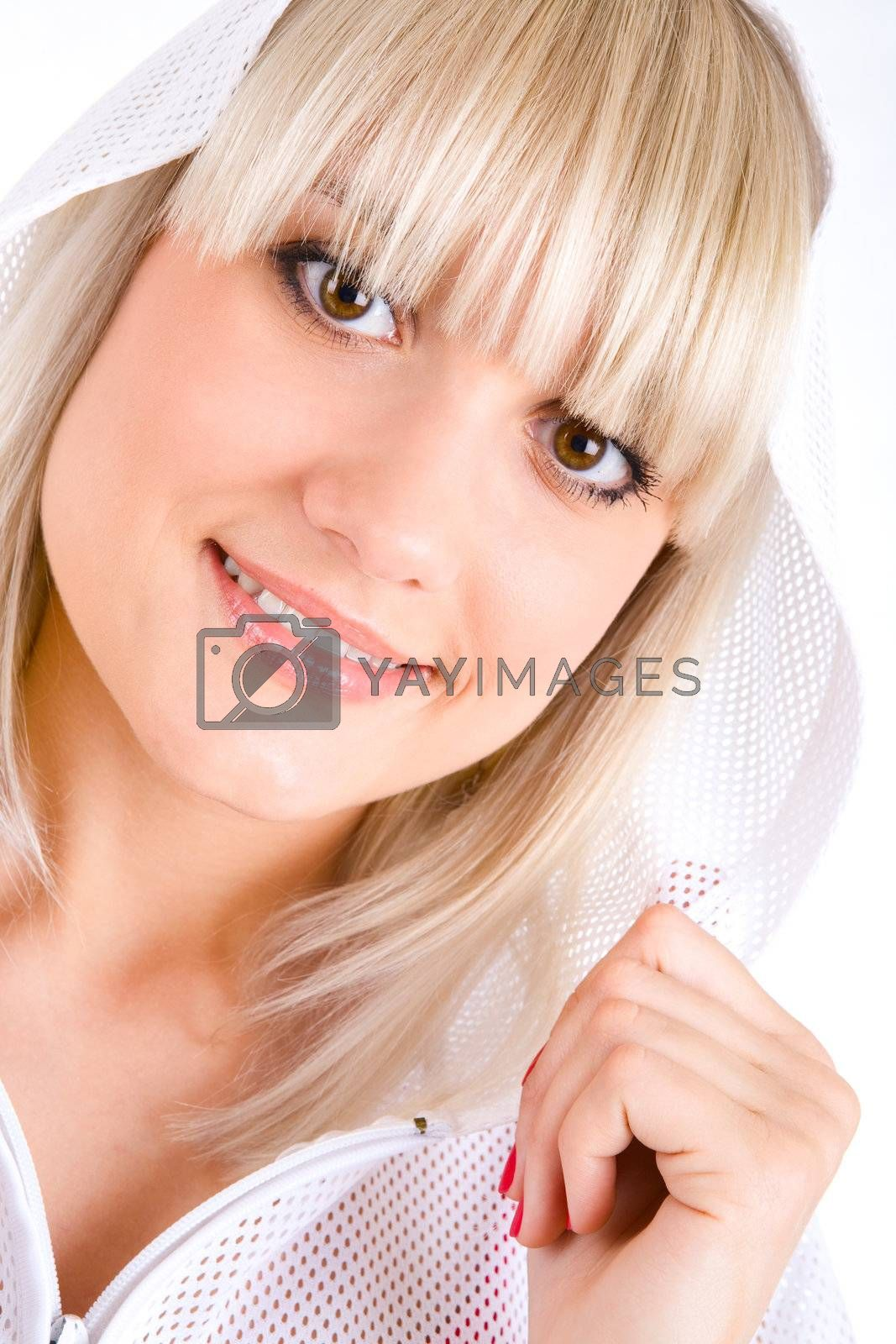 portrait of smiling girl in hood