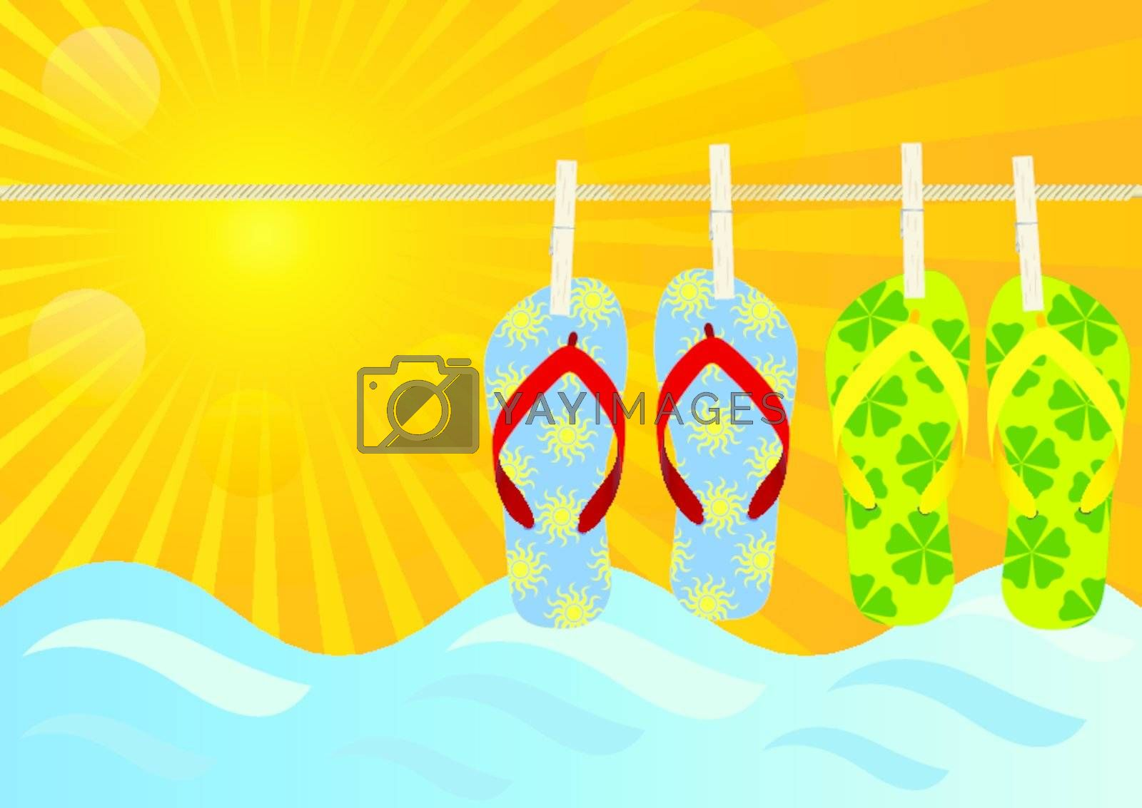 Summer Background - Hanging Flip-Flops on the Beach