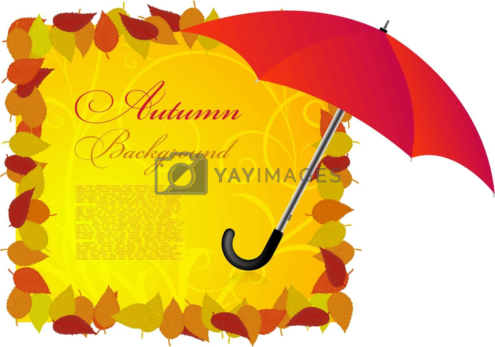 Vector background on a theme of autumn with leaves and umbrella