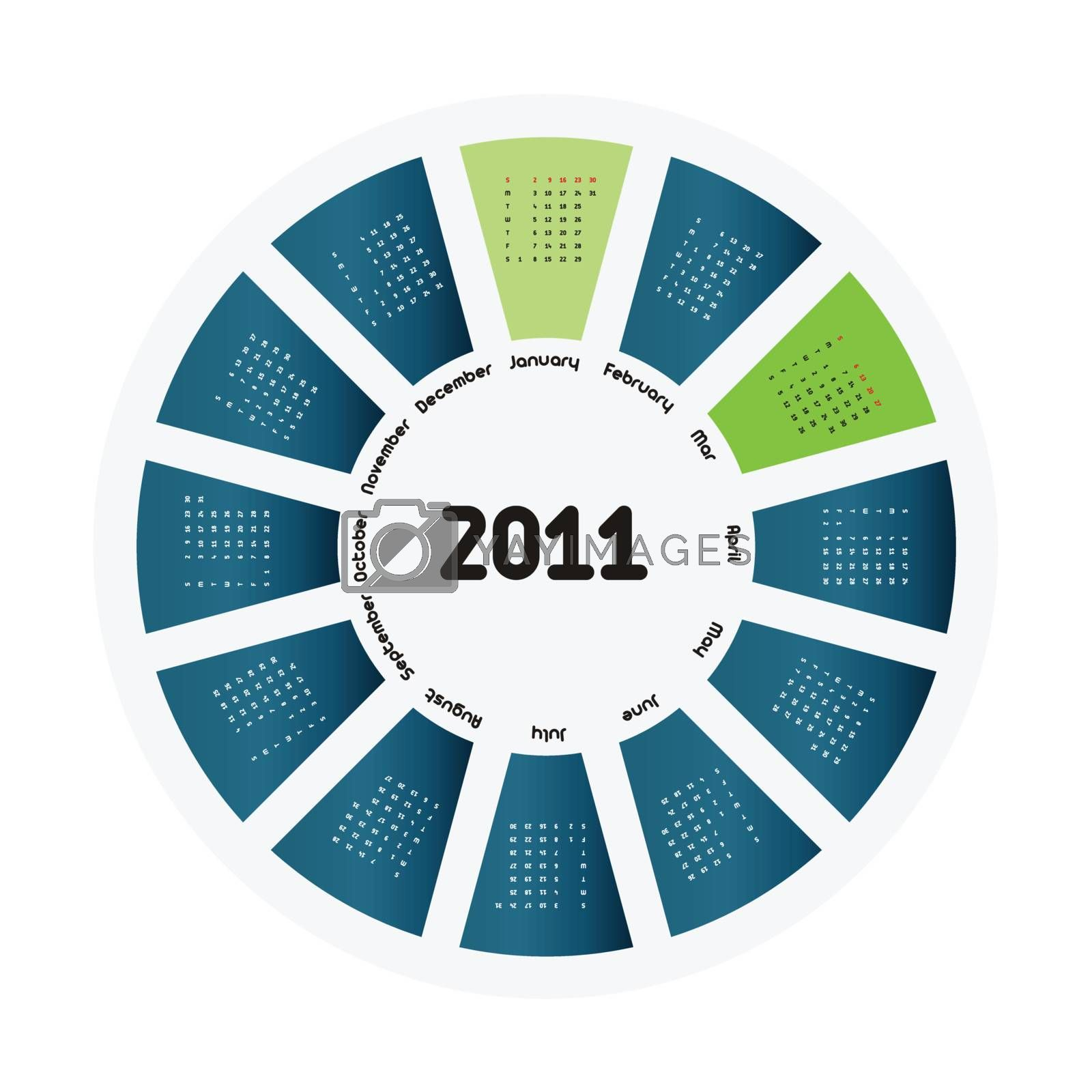 Circular design of colorful calendar for 2011.Week starts on sunday.