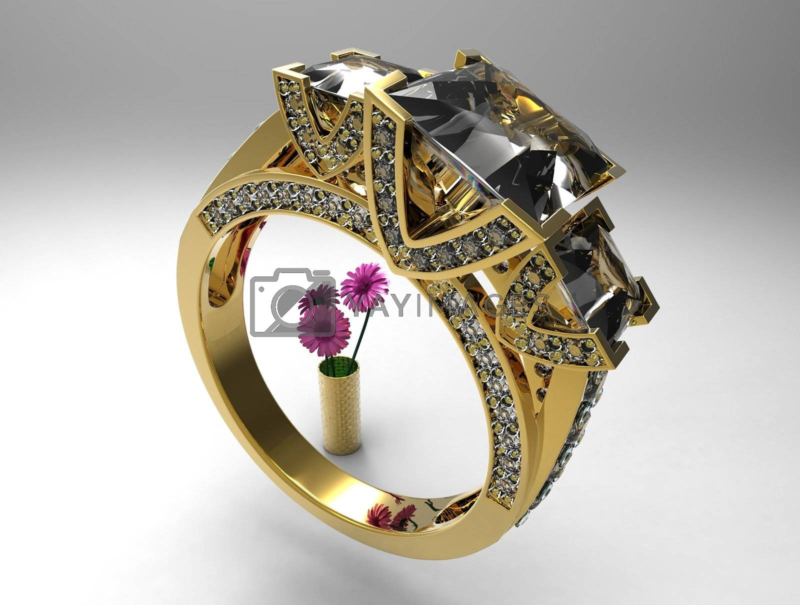 diamond ring and flowers