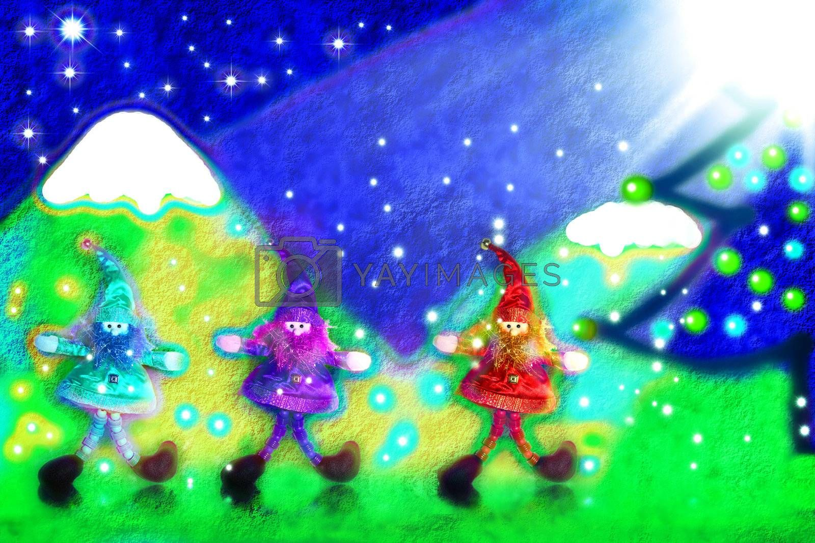 three santa's elves, a landscape painted in child