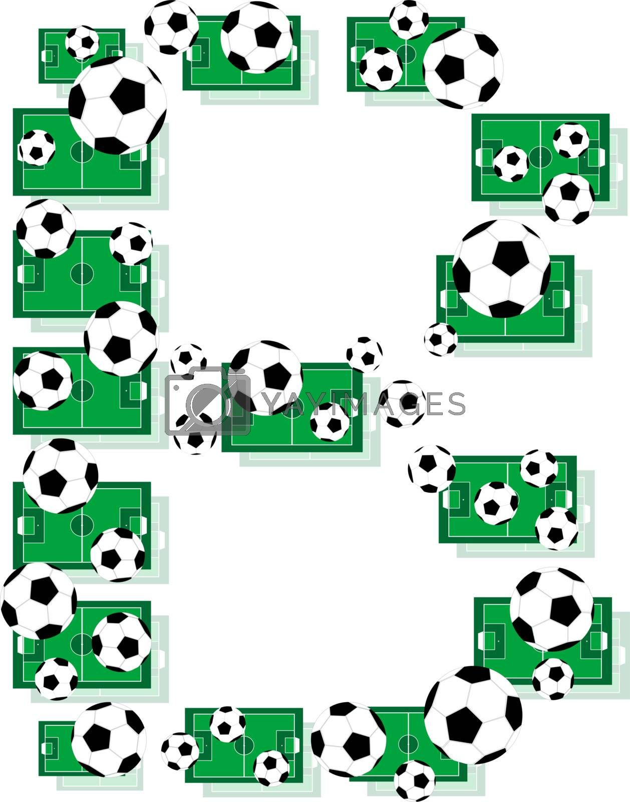 B, Alphabet Football letters made of soccer balls and fields. Vector