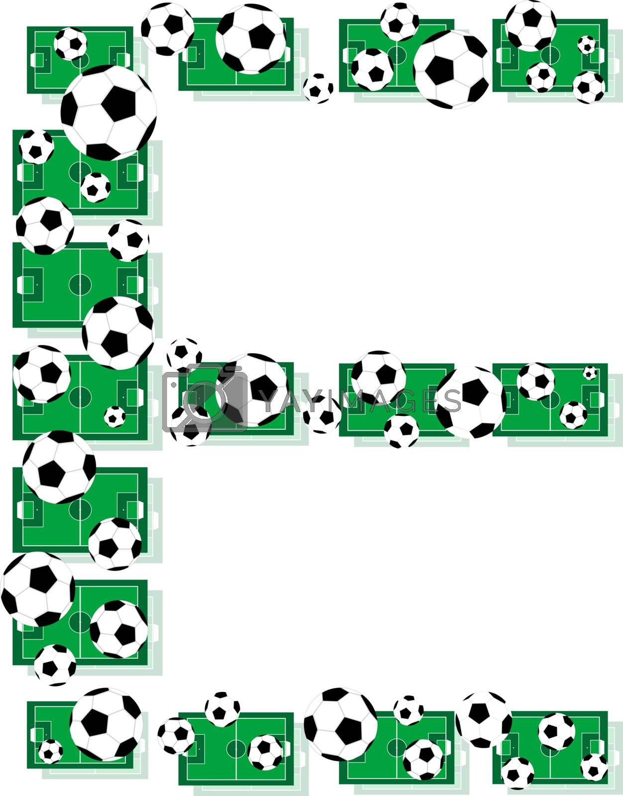 E, Alphabet Football letters made of soccer balls and fields. Vector