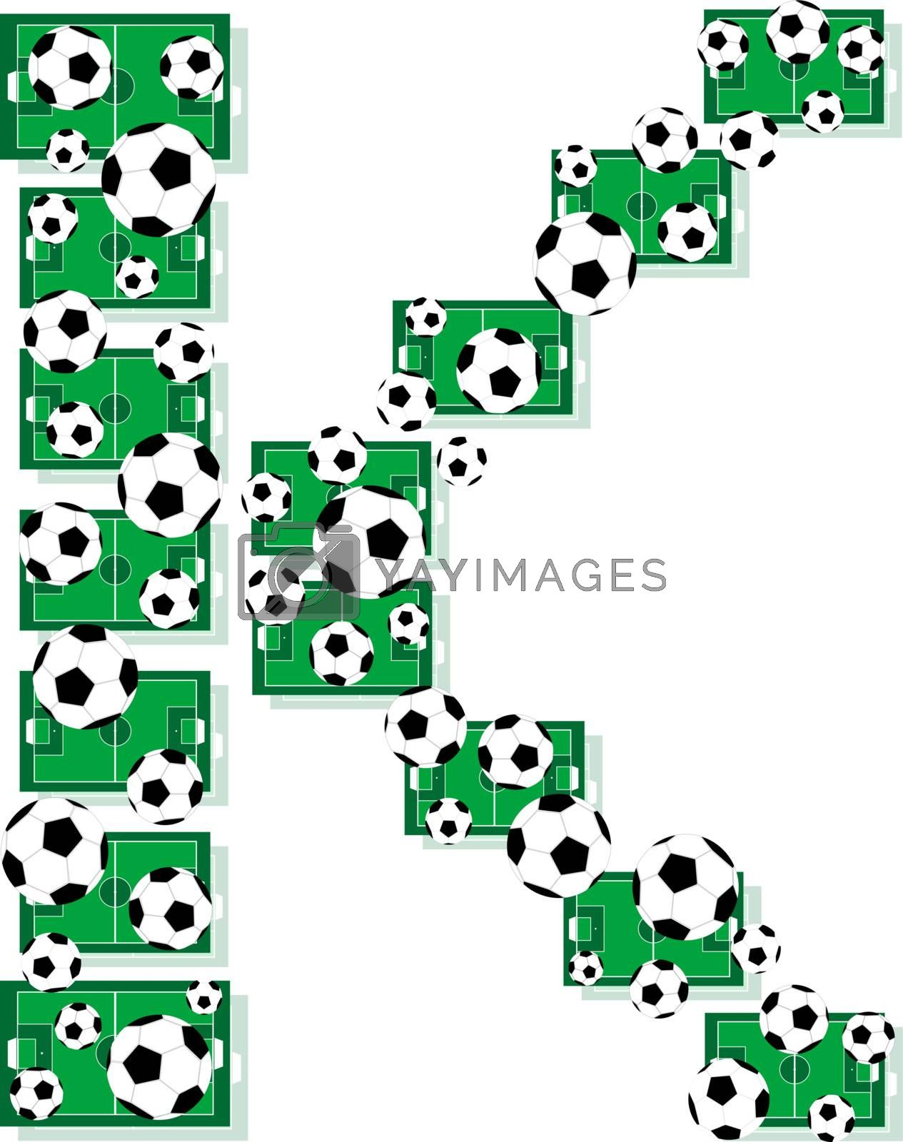 K, Alphabet Football letters made of soccer balls and fields. Vector