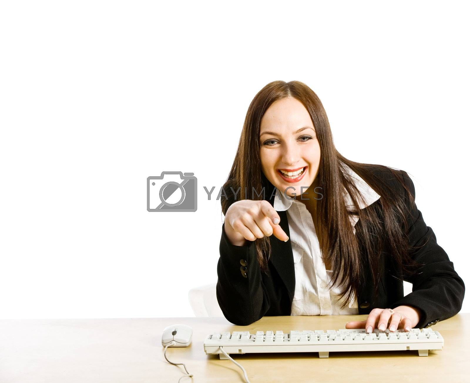 Conceptual photo of woman having a video chat at the office