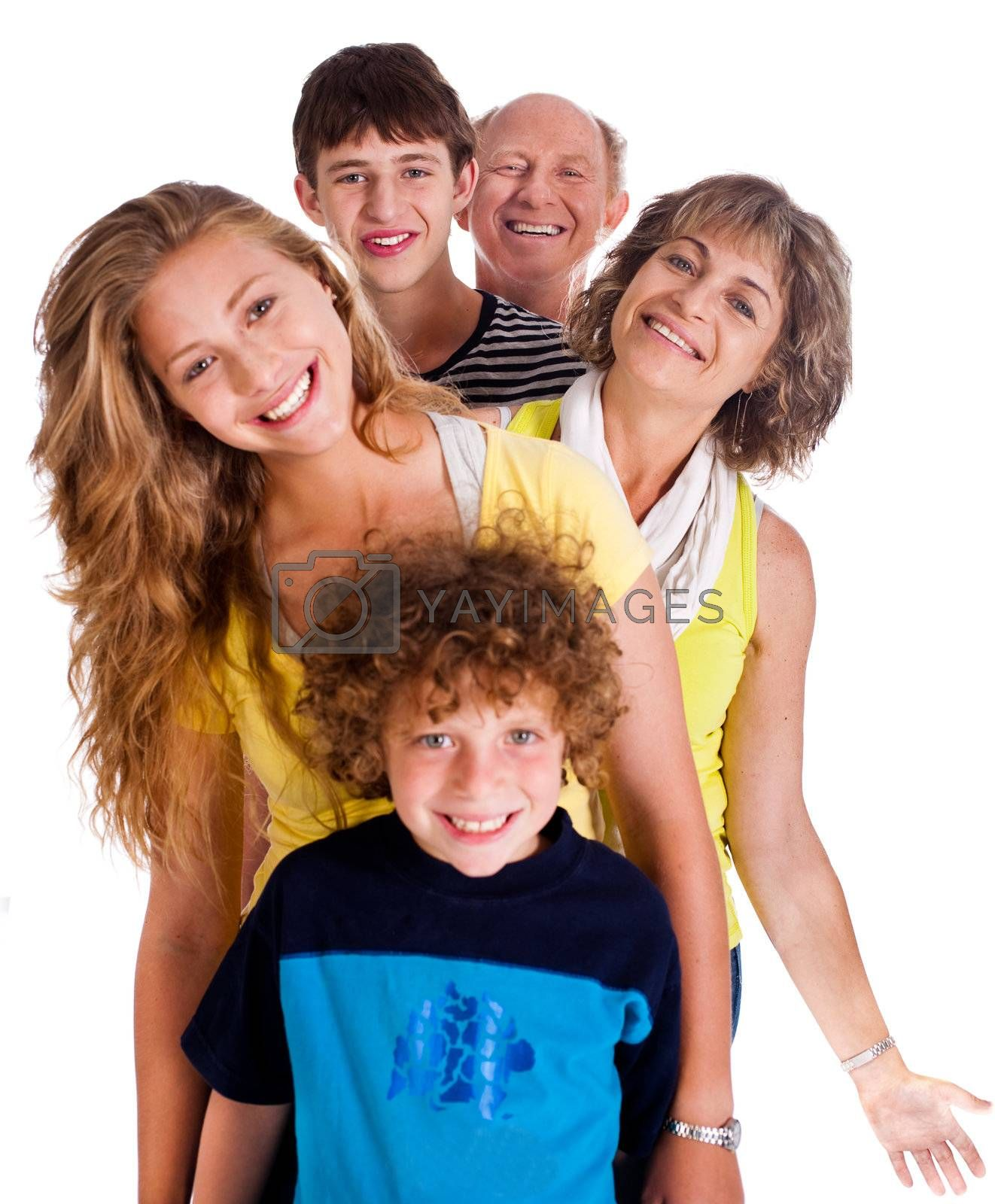 Portrait of happy family isolated on a white background..
