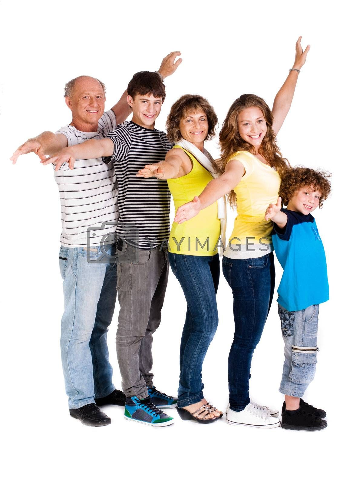 Attractive, happy caucasian american family isolated against white background..