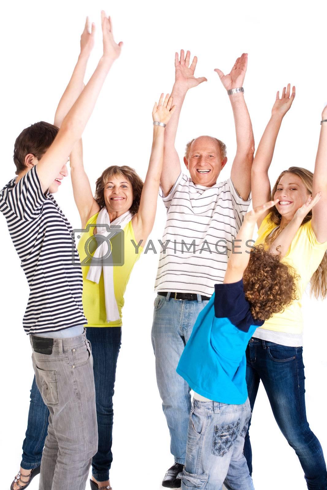 Family isolated on white background..