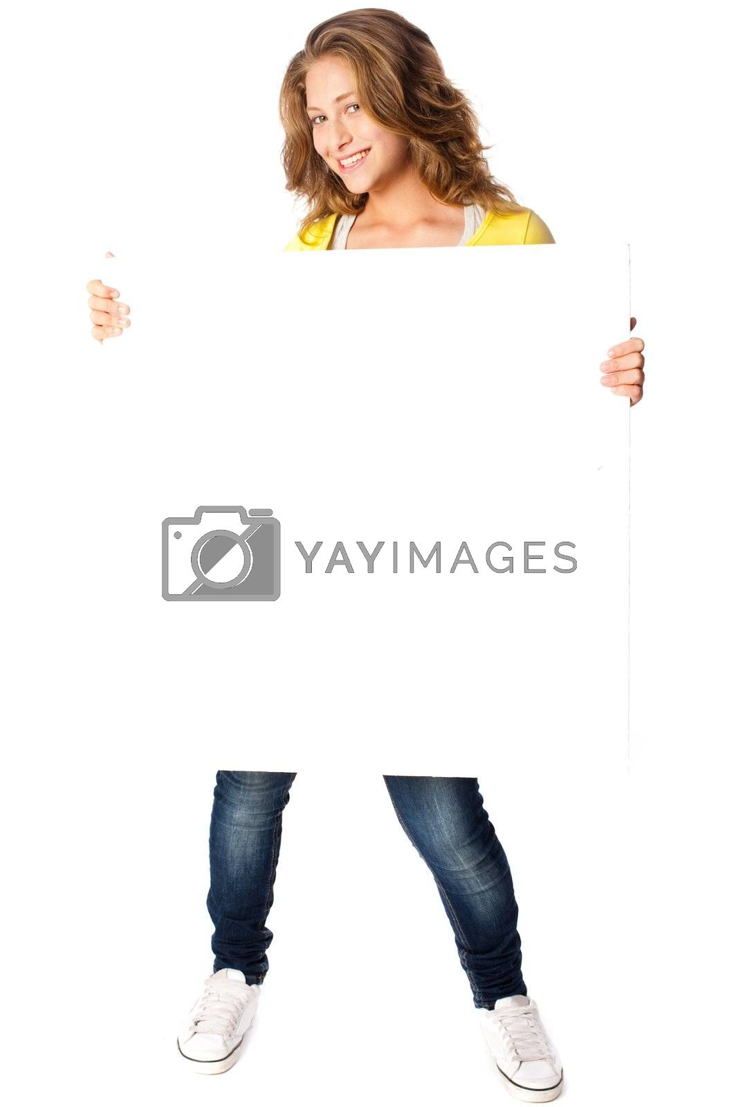 Beautiful woman holding empty white board isolated on white background.