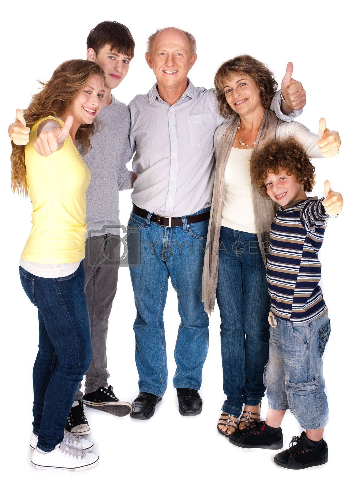 Stylish thumbs-up family over the white background.