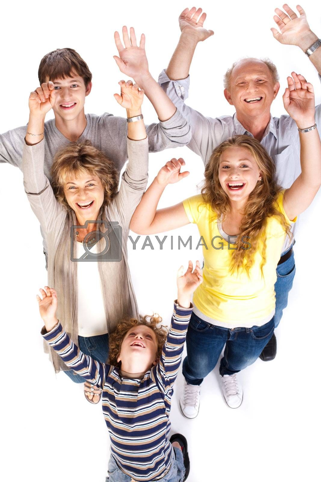 Overhead view of cheerful family, having a great time.