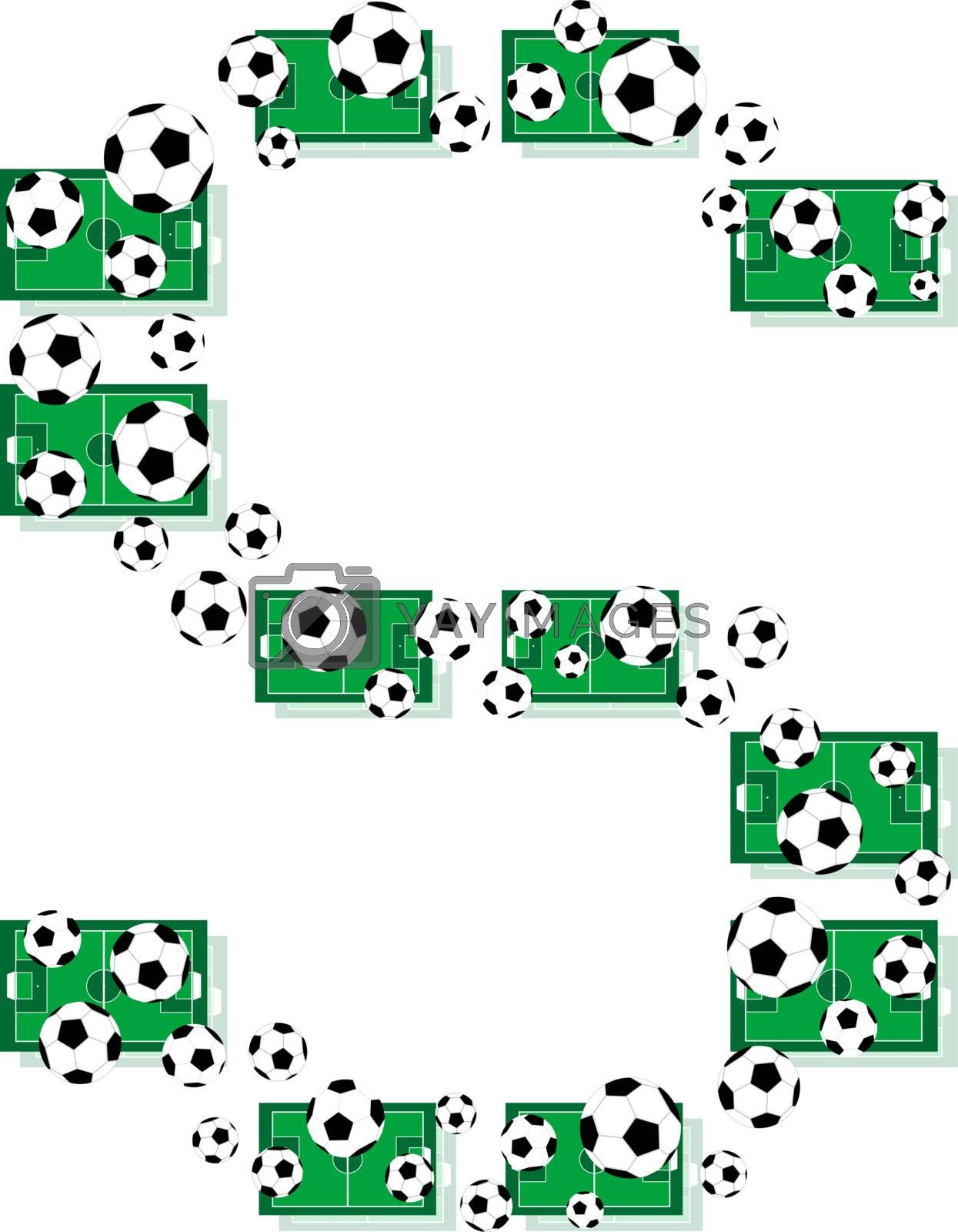 S, Alphabet Football letters made of soccer balls and fields. Vector