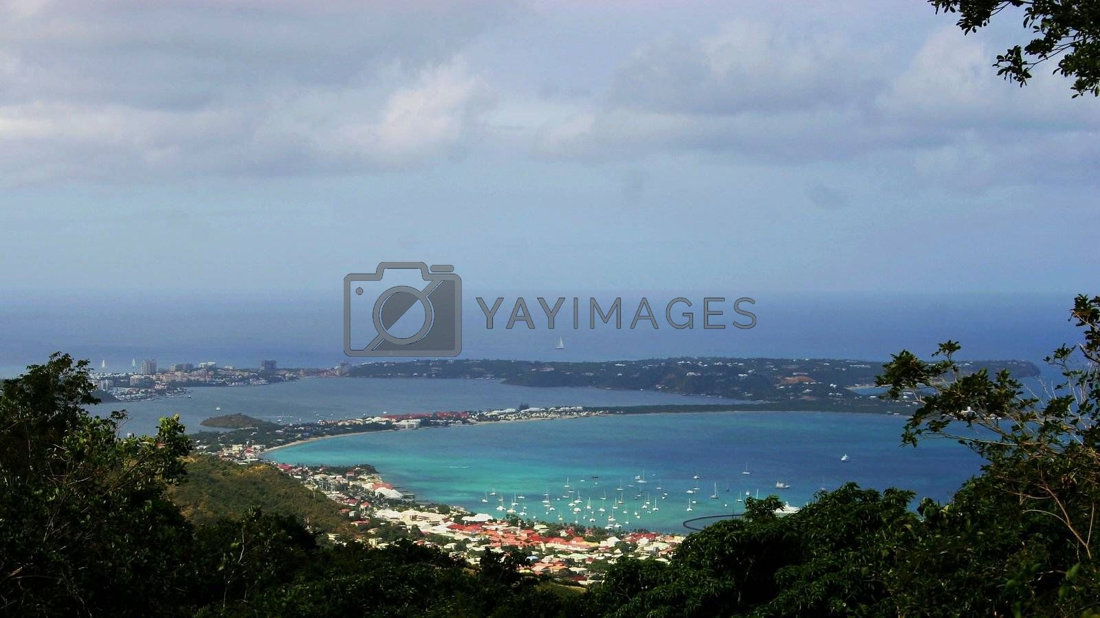 Mountain view of a bay in St-Martin