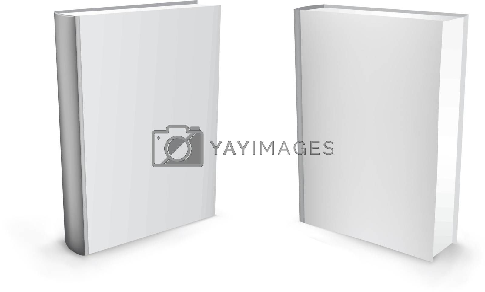 3d vector white standing mesh books isolated on the white background