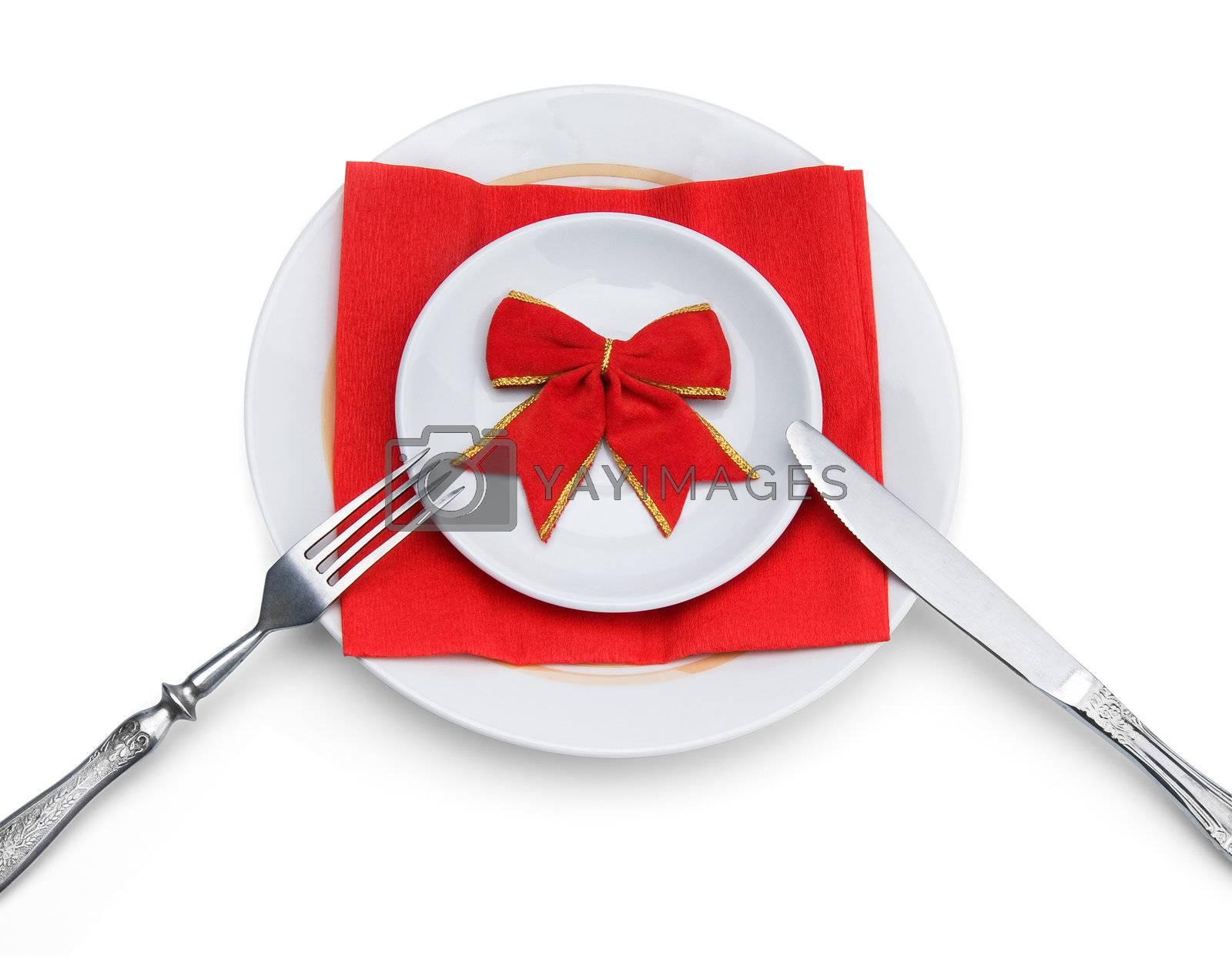 Celebratory dinner, isolated on white background