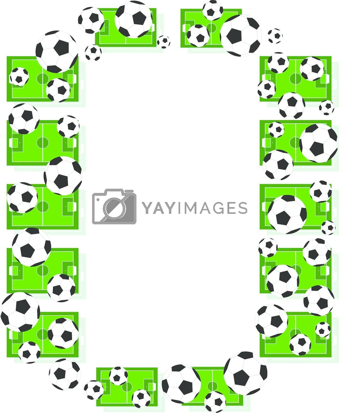 O, Alphabet Football letters made of soccer balls and fields. Vector