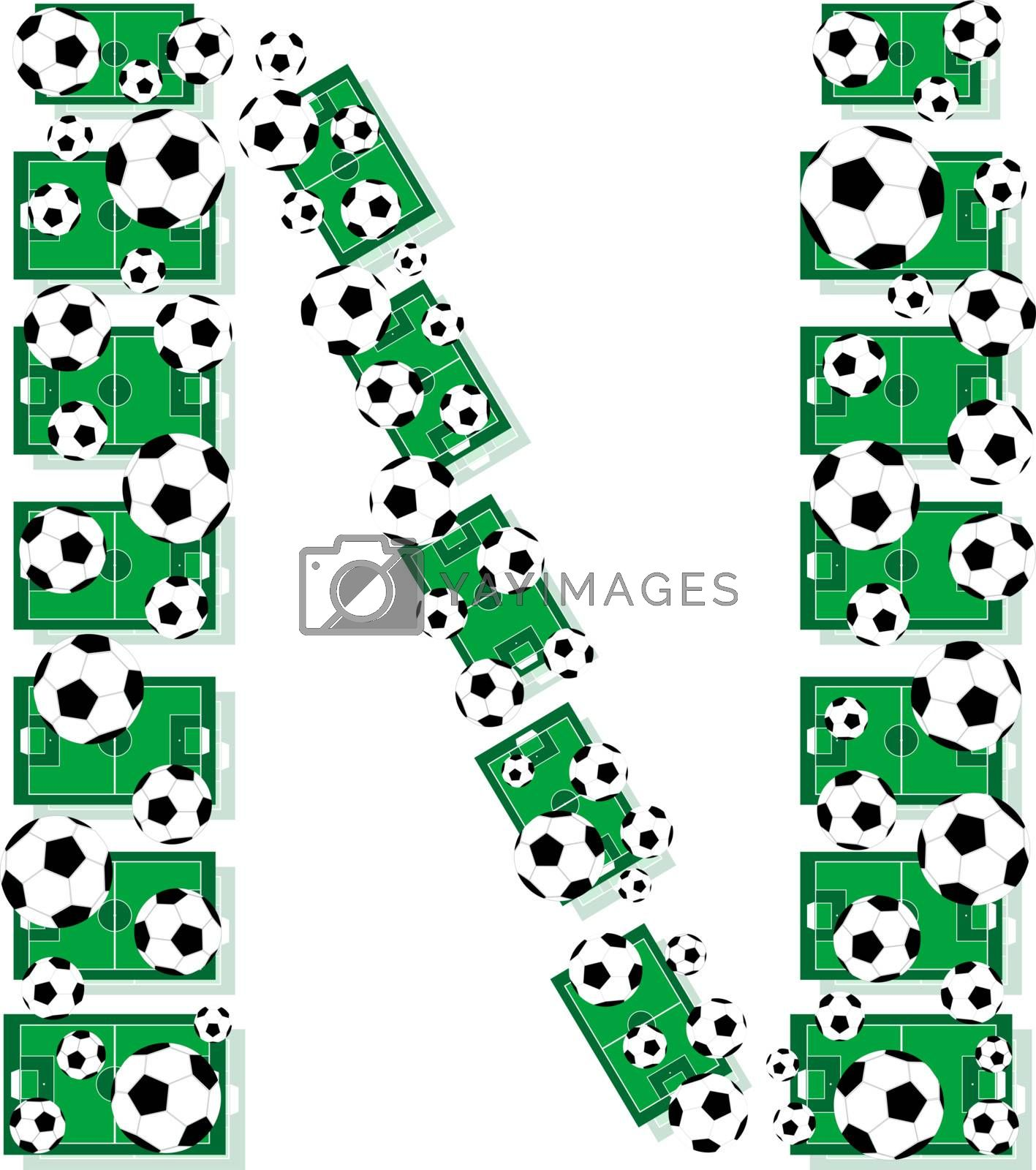 N, Alphabet Football letters made of soccer balls and fields. Vector