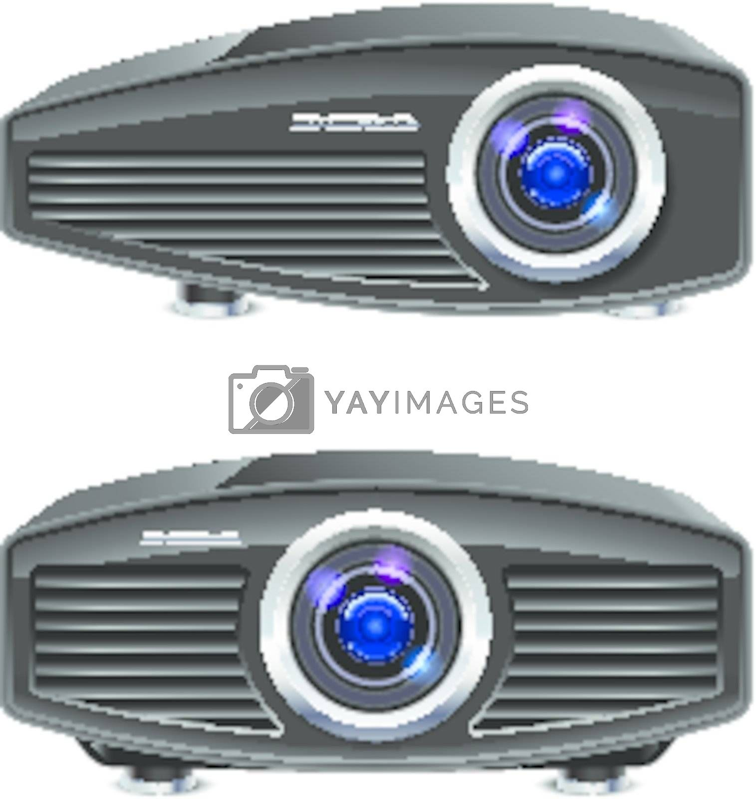 Realistic multimedia projector. Illustration on white background for design