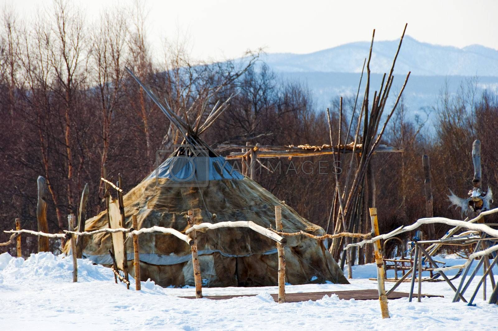 Aboriginals house of northern part of Russia on Kamchatka