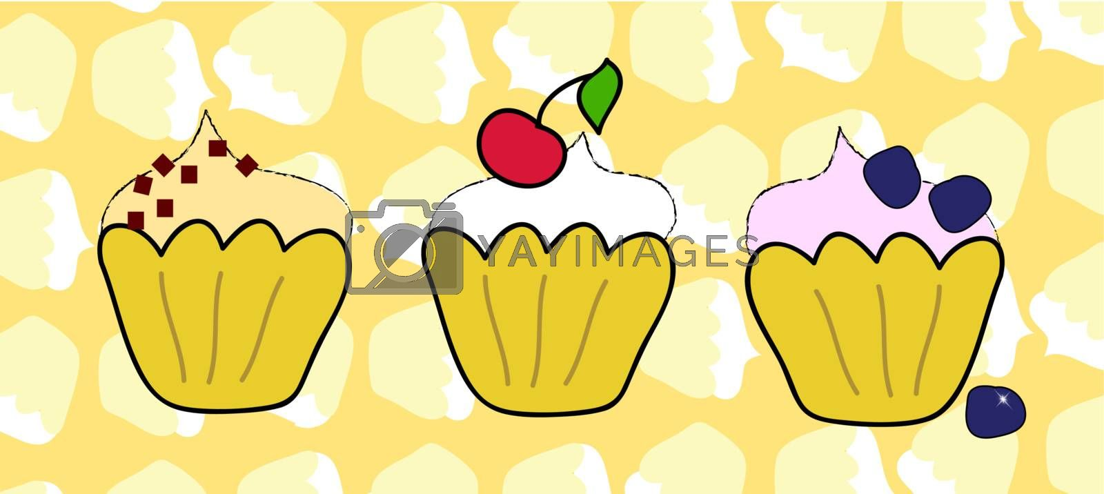 Muffins on a soft cupcake background